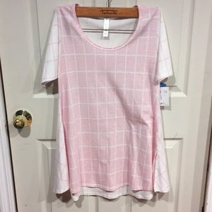 New! Lularoe Pink and White Checkered Shirt